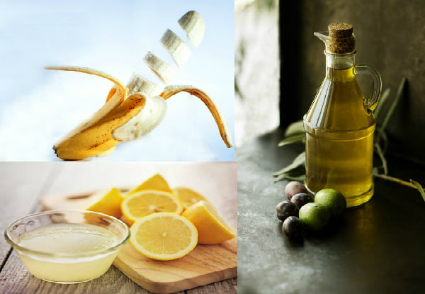 DIY home made hair care mask Banana olive oil and lemon