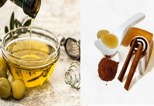 DIY home made hair care mask honey cinnamon and olive oil