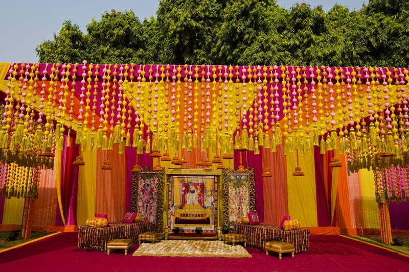 Wedding decor the essence of every indian wedding wedding decor subtle pom poms junglespirit Images