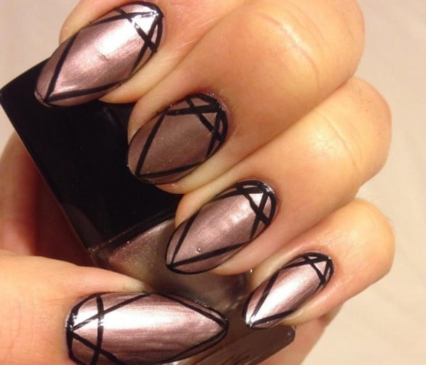 Geometric-Metallic-Nail-Art