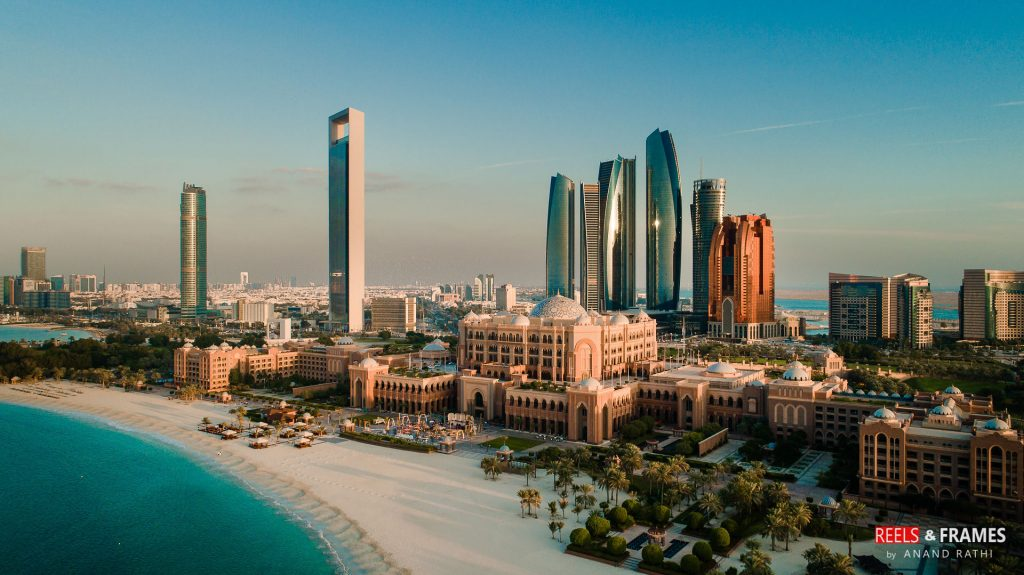 Aerial shot of Emirates Palace, Abu Dhabi captured by Reels & Frames