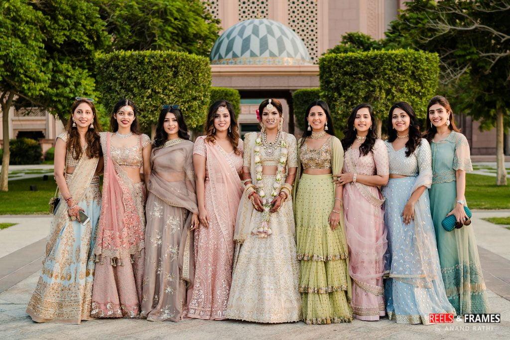 Bridesmaids at the Emirates Palace Courtyard in Abu Dhabi Wedding