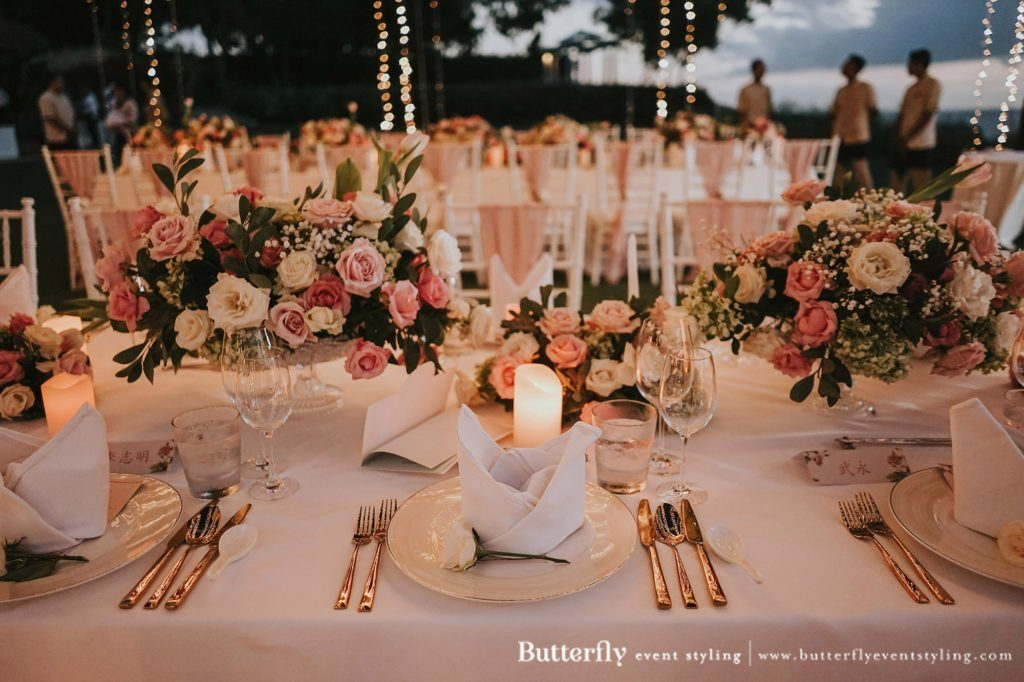 butterfly event styling, Bali, Indonesia for a Bali wedding