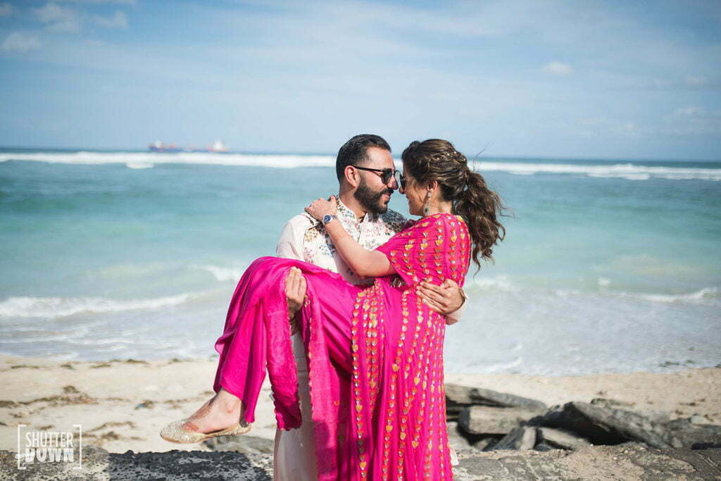 Couple at the bridal mehendi for a bali wedding