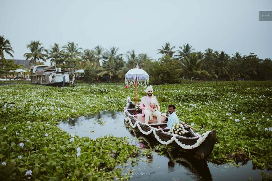 Groom entry in boat in kerala backwaters